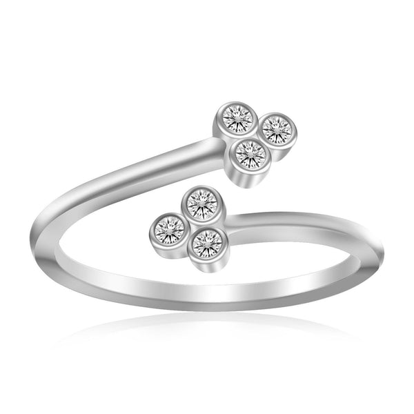 Sterling Silver Rhodium Plated Flower Themed Cubic Zirconia Toe Ring