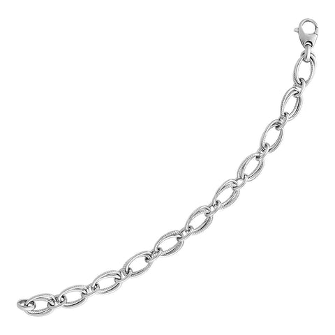 Polished and Textured Oval Link Bracelet in Sterling Silver