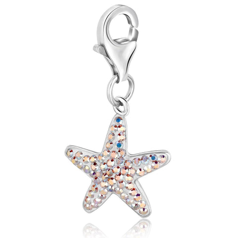 Sterling Silver Starfish Charm with Crystal Accents
