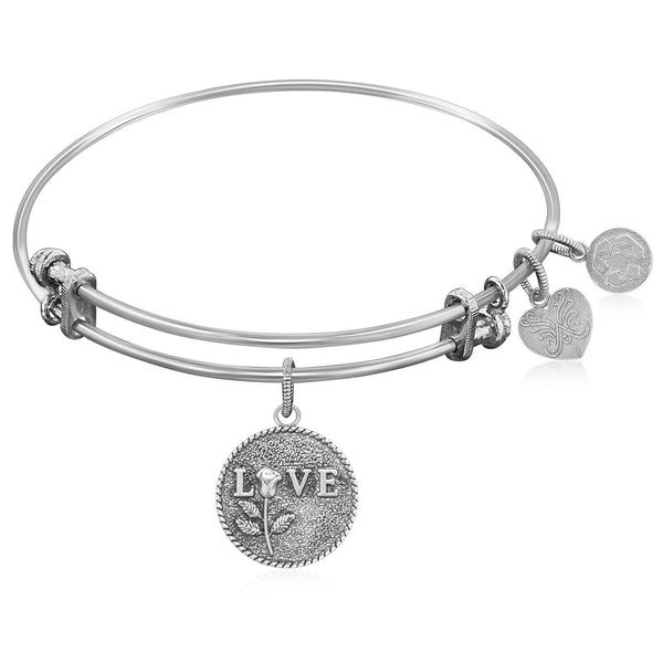 Expandable Bangle in White Tone Brass with Love Special Message Symbol