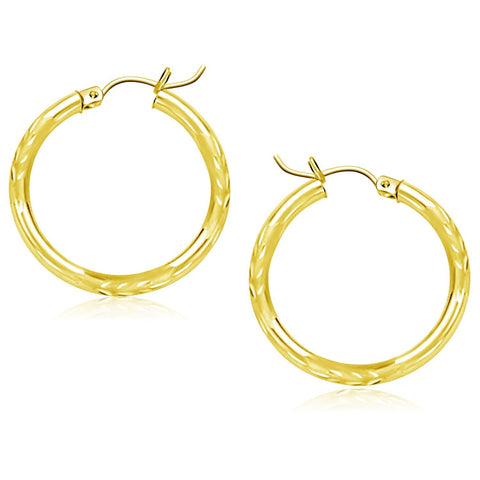 10K Yellow Gold Diamond Cut Hoop Earrings (25mm)