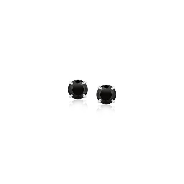 14K White Gold Stud Earrings with Black 4mm Cubic Zirconia