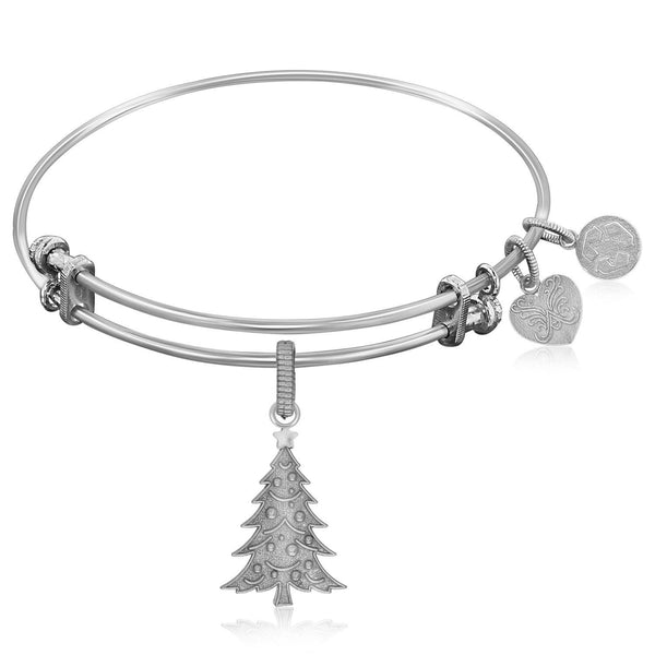 Expandable Bangle in White Tone Brass with Christmas Tree
