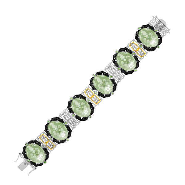 18K Yellow Gold & Sterling Silver Amethyst, Tsavorite, & Diamond Accented Bracelet