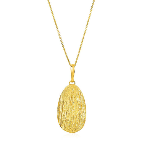 Textured Oval Pendant with Yellow Finish in Sterling Silver