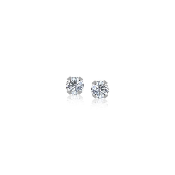 14K White Gold White Cubic Zirconia 2mm Stud Earrings