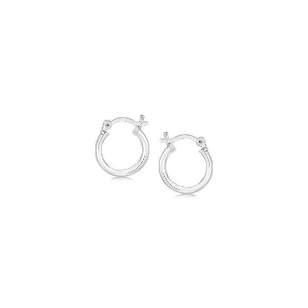 Sterling Silver Rhodium Plated Thin and Small Polished Hoop Earrings (10mm)
