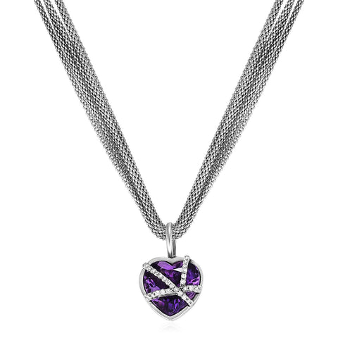 Woven Necklace with Amethyst Heart Pendant and Diamonds in Sterling Silver
