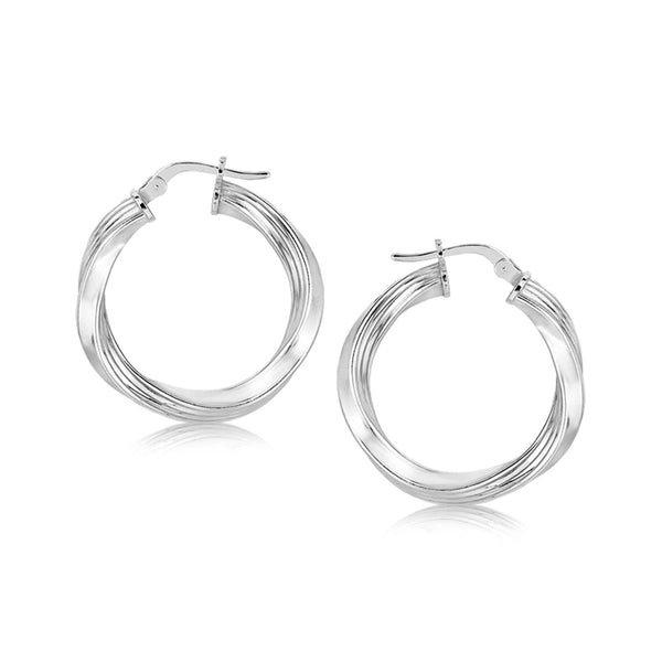Sterling Silver Polished Twist Style Hoop Earrings