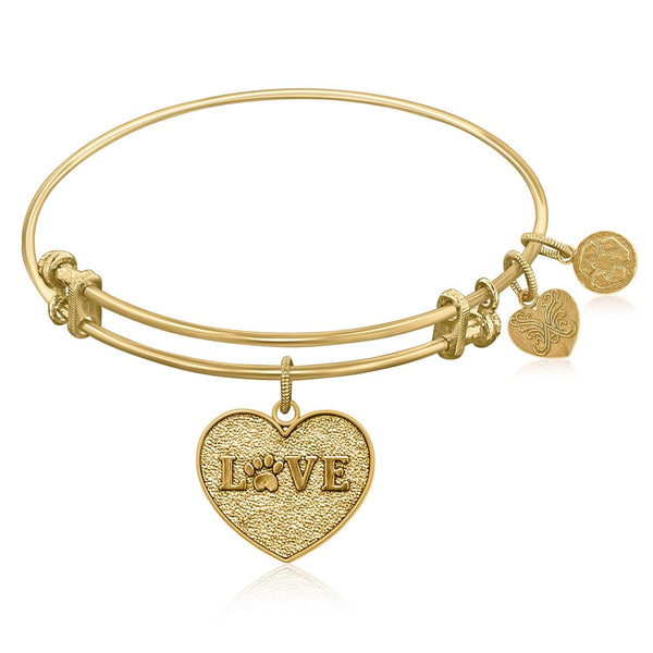 Expandable Bangle in Yellow Tone Brass with Love Symbol
