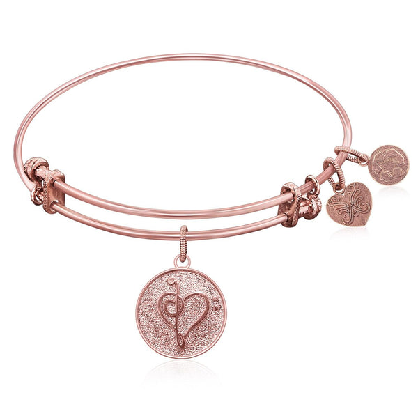 Expandable Bangle in Pink Tone Brass with Music Feel The Beat Symbol