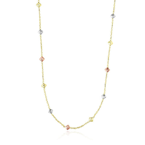 14K Tri-Color Gold Necklace with Faceted Diamond Shape Stations