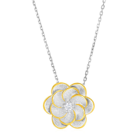 Pendant with Two Toned Flower with Cubic Zirconia in Sterling Silver