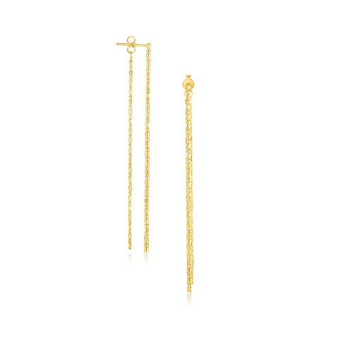 14K Yellow Gold Double Chain Strand Drop Earrings