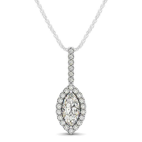 Marquis Shape Diamond Halo Pendant in 14K White Gold (2/3 ct. tw.)