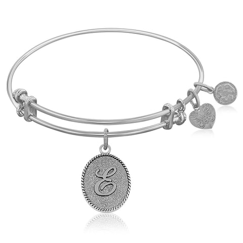 Expandable Bangle in White Tone Brass with Initial E Symbol