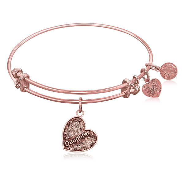Expandable Bangle in Pink Tone Brass with Daughter Special Love Symbol