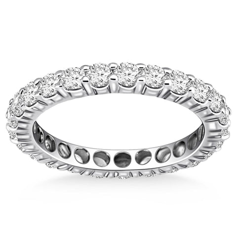 14K White Gold Ageless Round Cut Diamond Eternity Ring