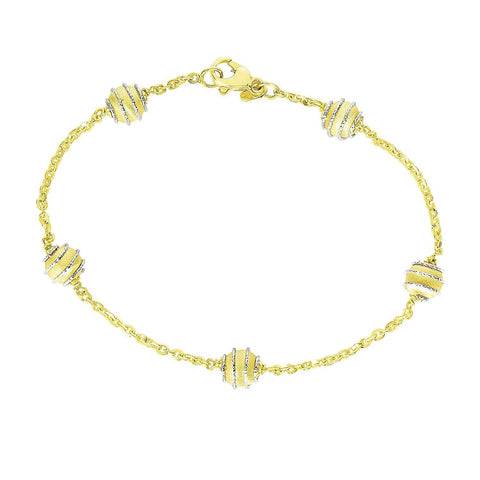 14K Two-Tone Gold Bracelet with Coil Embellished Ball Stations