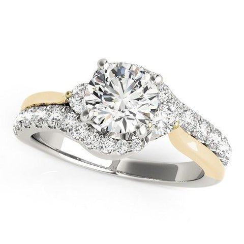 14k White And Yellow Gold Round Bypass Diamond Engagement Ring (1 1/2 cttw)