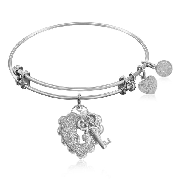 Expandable Bangle in White Tone Brass with Key To Opening Life's Doors Symbol