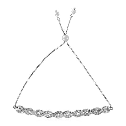 Adjustable Bracelet with Infinity Symbols and Diamonds in Sterling Silver