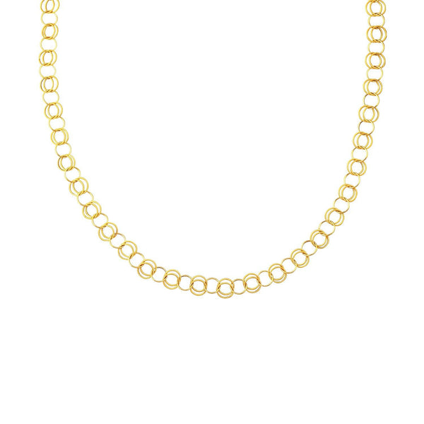 14K Yellow Gold Polished and Dual Textured Round Link Necklace