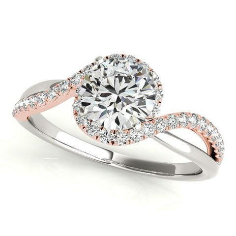 14k White And Rose Gold Bypass Band Diamond Engagement Ring (1 1/8 cttw)