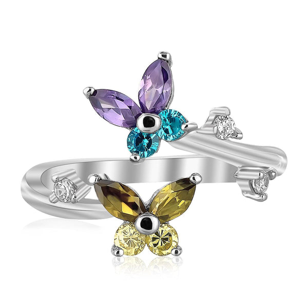 Sterling Silver Rhodium Plated Floral Toe Ring with Multi-Tone Cubic Zirconia