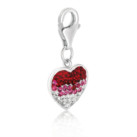 Sterling Silver Heart Style Charm with Red, Pink, and White Tone Crystal Accents
