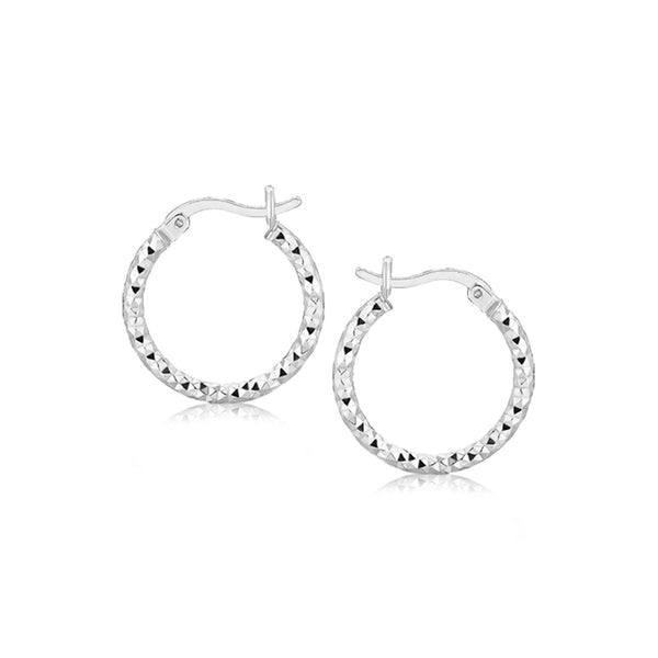 Sterling Silver Faceted Design Hoop Earrings with Rhodium Plating