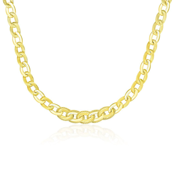 14K Yellow Gold Oval Link Necklace with Popcorn Style Trim