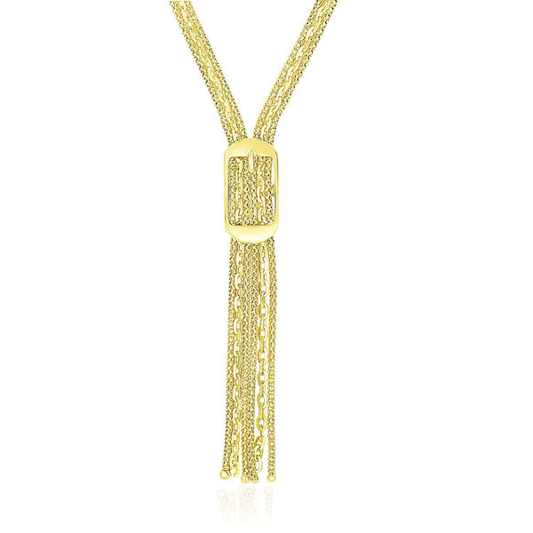14K Yellow Gold Lariat Buckle Style Multi-Strand Chain Necklace