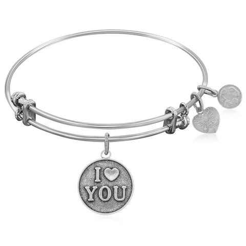 Expandable Bangle in White Tone Brass with I Love You Symbol