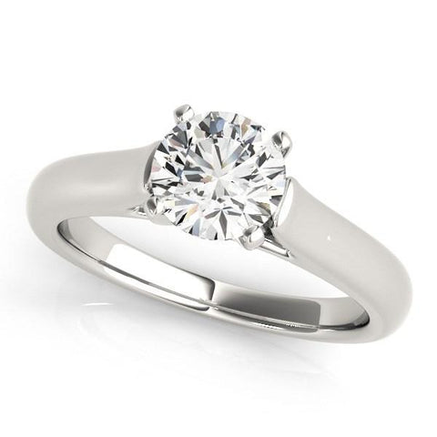 14k White Gold Cathedral Design Solitaire Diamond Engagement Ring (1 cttw)