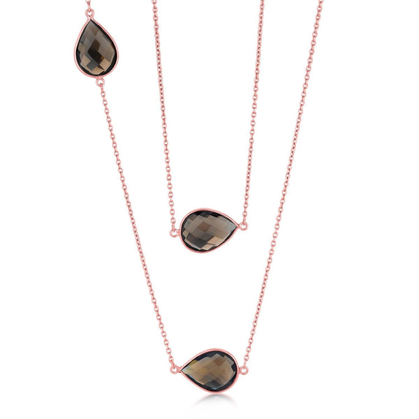 Pink Sterling Silver Long Pear Shape Smoky Quartz Necklace