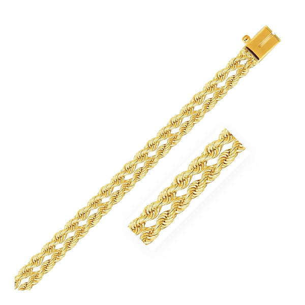 5.0 mm 14K Yellow Gold Dual Row Rope Bracelet