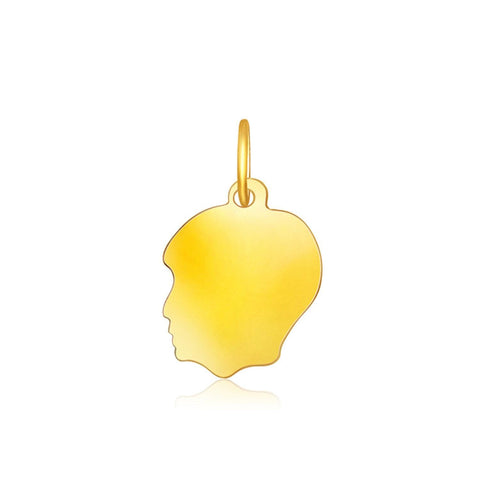14K Yellow Gold Small Boy Head Charm