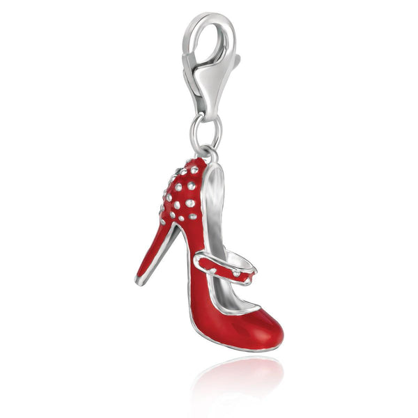 Sterling Silver Red Enameled High Heel Shoe Charm