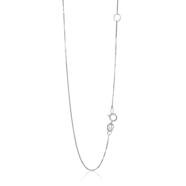 0.6mm 14K White Gold Adjustable Box Chain