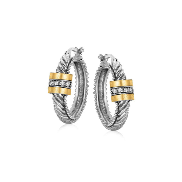 18K Yellow Gold and Sterling Silver Diamond Italian Cable Style Hoop Earrings