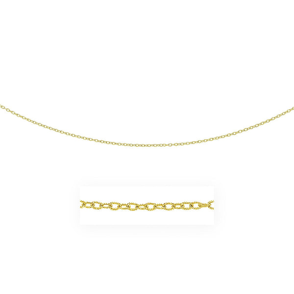 2.5mm 14K Yellow Gold Pendant Chain with Textured Links