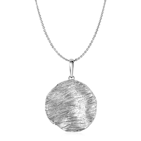 Textured Circle Pendant in Sterling Silver