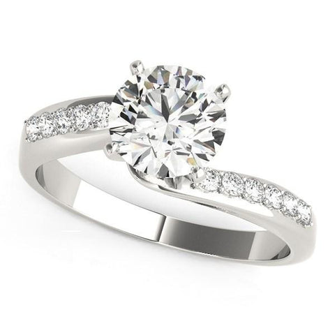 14K White Gold Bypass Round Pronged Diamond Engagement Ring (1 5/8 ct. tw.)