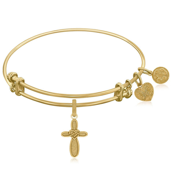 Expandable Bangle in Yellow Tone Brass with Cross with Heart Symbol