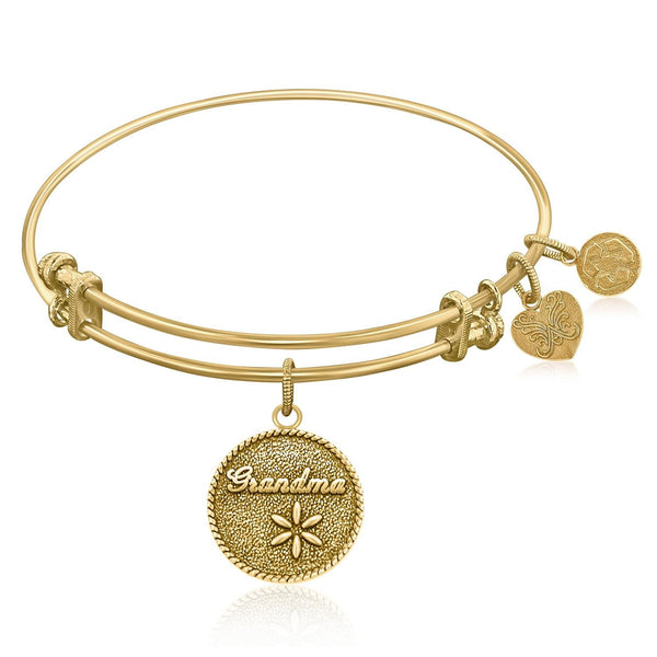 Expandable Bangle in Yellow Tone Brass with Grandma Tie That Binds Symbol