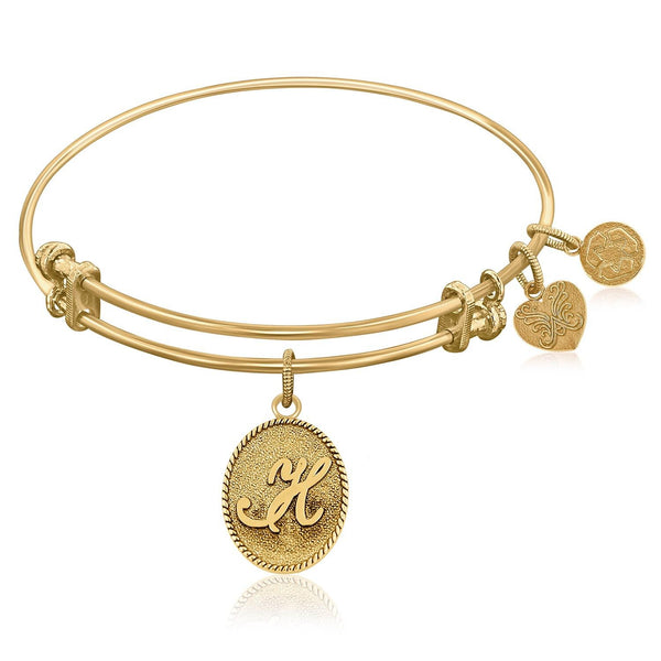 Expandable Bangle in Yellow Tone Brass with Initial H Symbol