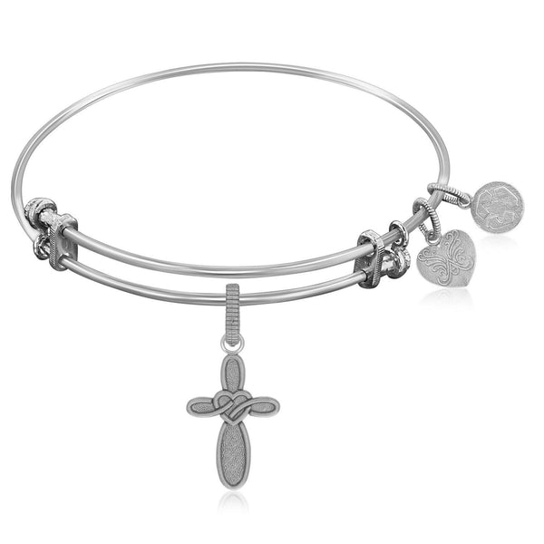 Expandable Bangle in White Tone Brass with Cross with Heart Symbol
