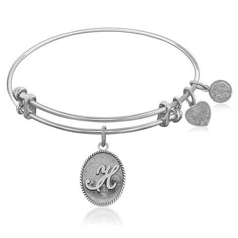 Expandable Bangle in White Tone Brass with Initial H Symbol