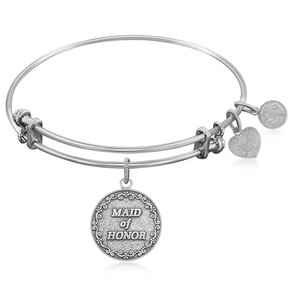 Expandable Bangle in White Tone Brass with Maid Of Honor Symbol